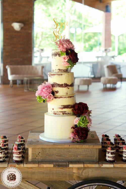 Peony Semi Naked Cake, tarta de boda, mericakes, pastel de boda, wedding cake, red velvet, topper, mini cakes, fresh flowers cake