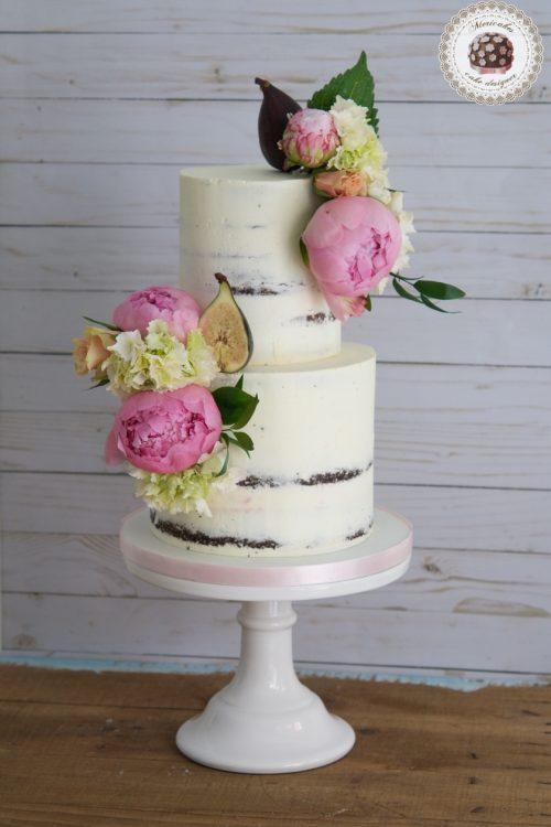 Peony and Figs Cake, Semi naked, mericakes, tartas de boda, wedding cake, tartas decoradas, chocolate, peonia, fresh flowers, hortensias, cream cake