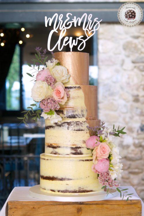 Pink Gold Semi Naked Wedding Cake