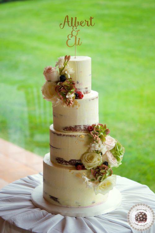 Semi naked flowers cake, wedding cake, tarta de boda, spain wedding, red velvet, fresh flowers, mericakes, pastry, barcelona 5