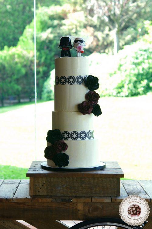 Star Wars Wedding cake, Tarta de boda, friki cake, darth vader cake, trooper cake, mericakes, rose cake, tartas barcelona, bodas barcelona, tarta friki