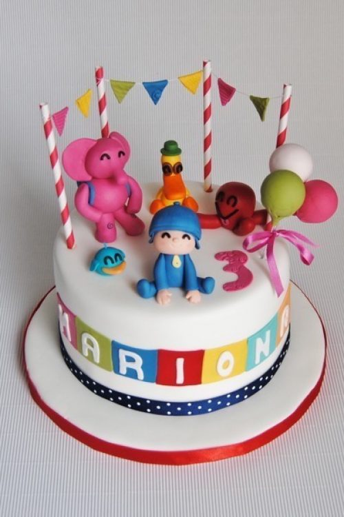 tarta-fondant-pocoyo-pato-eli-pulpo-pajarito-fiesta-carrot-cake-fondant-infantil-sugarcraft-sugarpaste-barcelona-mericakes-cake-sugarcraft